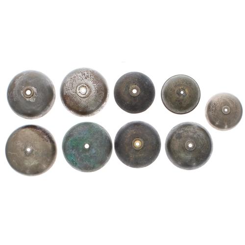 1464 - Nine various small French mantel clock bells(9)