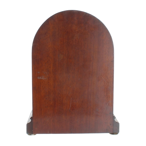 1021 - Great Western Railway (G.W.R) mahogany single train mantel clock,bearing an ivorine plaque fixed to...