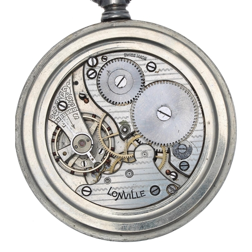 1002 - London, Midland and Scottish Railway (L.M.S.R) Lonville nickel cased lever pocket watch,signed move...