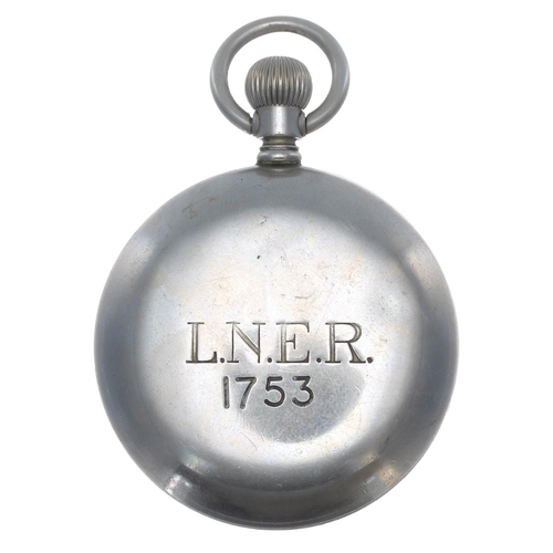 1005 - London and North Eastern Railway (L.N.E.R.) nickel cased lever pocket watch,cal. 534 15 jewel movem...