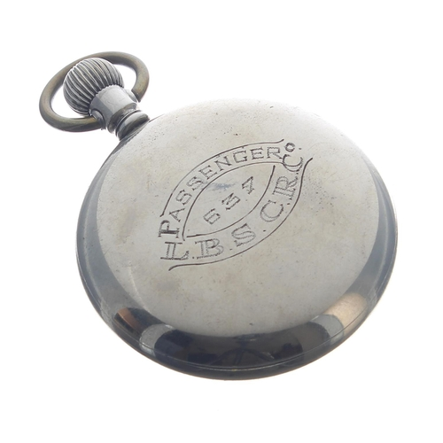 1006 - London, Brighton and South Coast Railway (L.B.S.C.R.Co.) nickel cased lever pocket watch,the moveme...