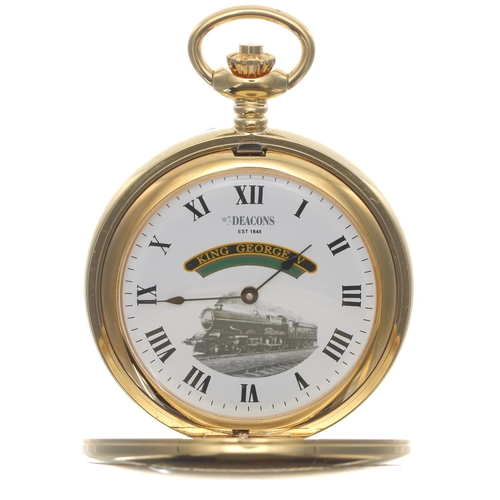 1008 - Deacon & Son (Swindon) Ltd Anniversary limited edition 'King George V' gold plated skeleton half...