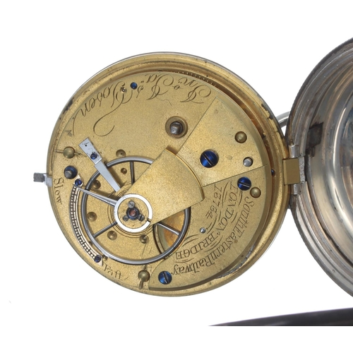 1009 - Victorian silver fusee lever pocket watch of Railway Interest,London 1870, the movement signed Jon ...
