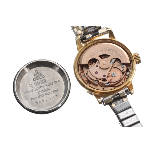 13 - Omega Genéve automatic gold plated and stainless steel lady's bracelet watch, ref. 566.002, serial n...
