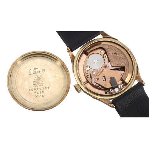 15 - Omega 14k 'bumper' automatic gentleman's wristwatch, ref. 2375, circular black dial with applied gil...