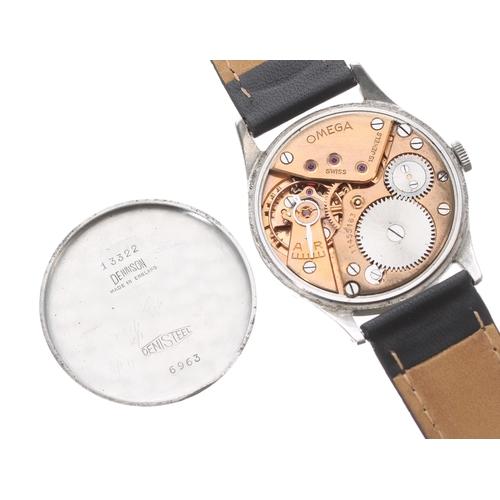 17 - Omega stainless steel gentleman's wristwatch, ref. 6963, serial no. 11455xxx, circa 1947, tarnished ...