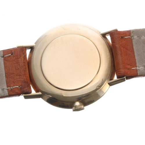18 - Omega 9ct gentleman's wristwatch, signed circular dial with baton markers and centre seconds, tan le...