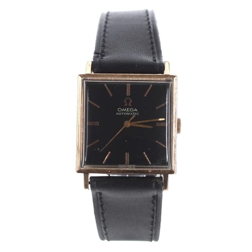 23 - Omega automatic square cased gold plated and stainless steel gentleman's wristwatch, ref. 161.014, s...
