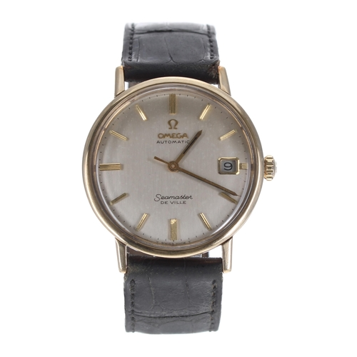 43 - Omega Seamaster De Ville automatic 9ct gentleman's wristwatch, circular silvered dial with baton mar...