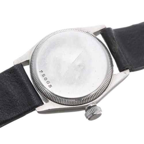 53 - Rolex Oyster mid-size stainless steel wristwatch, case no. 758xx, circa 1940s, circular silvered dia...