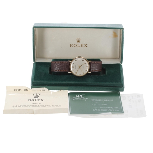 54 - Rolex Precision 9ct gentleman's wristwatch, circular silvered dial with Arabic numerals and centre s...