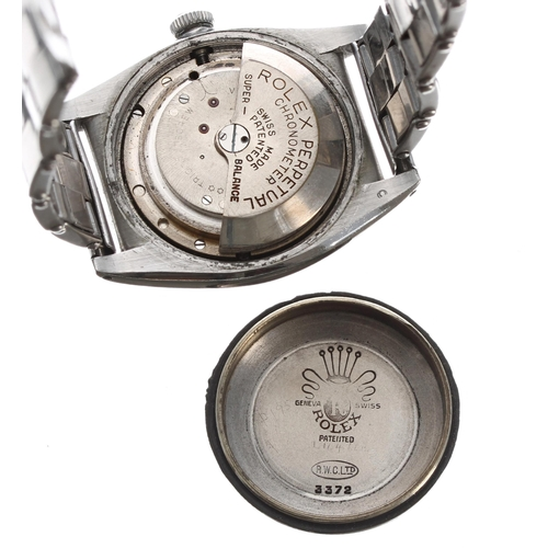 57 - Rolex Oyster Perpetual chronometer bubble back stainless steel gentleman's wristwatch, ref. 3372, se...