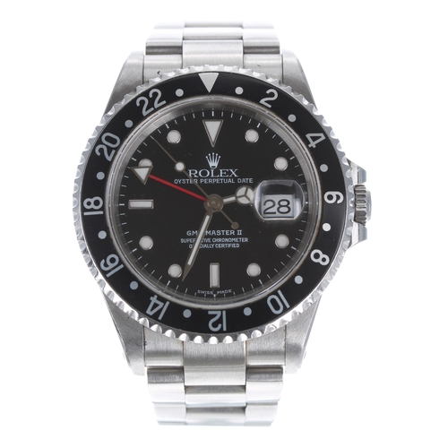Rolex Oyster Perpetual Date GMT-Master II stainless steel gentleman's wristwatch, ref. 16710, serial. no. P576xxx, circa 2000, circular black dial with dot and baton hour markers, white minute markers, date aperture, Mercedes hands and arrow tipped red dual time zone hand, rotating 24-hour bezel with black insert, screw down crown with quick set date, Oyster 78790A bracelet with flip-lock clasp, 42mm including crown guards
