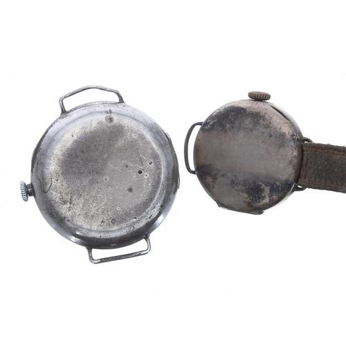 504 - Silver wire-lug wristwatch, import hallmarks Edinburgh 1924, enamel dial, unsigned movement, hinged ...
