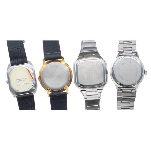 510 - Buler Quartz stainless steel gentleman's bracelet watch, black dial, 37mm; together with a Junghans ...