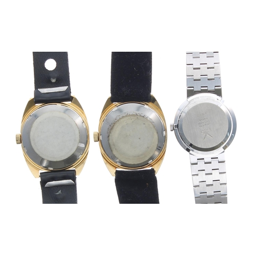 511 - Two Camy super automatic gold plated and stainless steel gentleman's wristwatches, 25 jewel, black s...