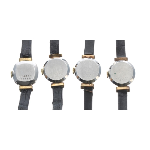512 - Four Baume & Mercier gold plated and stainless steel ladies wristwatches, silvered dials, black ...