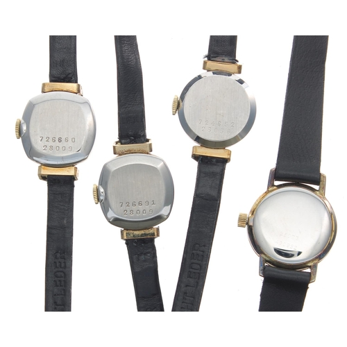513 - Three Baume & Mercier gold plated and stainless steel ladies wristwatches, silvered dials, black...