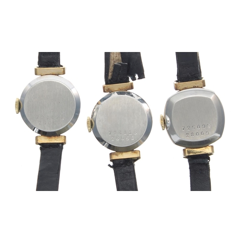 514 - Three Baume & Mercier gold plated and stainless steel ladies wristwatches, silvered dials, black...