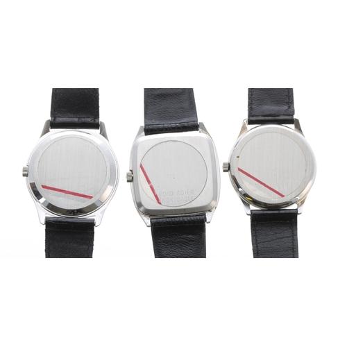 520 - Three Tissot Stylist Quartz stainless steel gentleman's wristwatches, with Tissot leather straps (tw...
