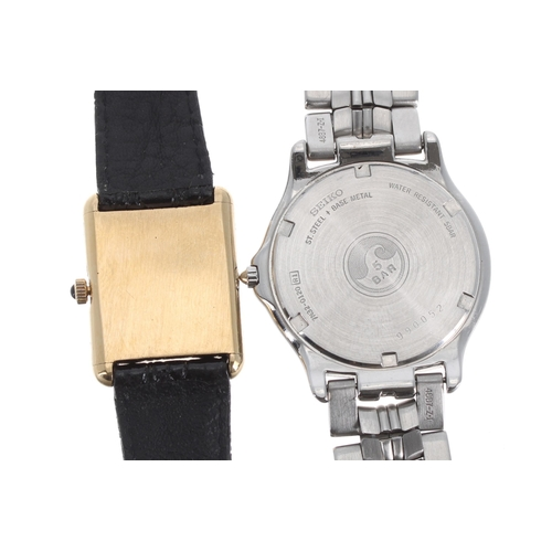 524 - Sekonda rectangular cased gold plated gentleman's dress watch, rectangular white dial with Roman num...