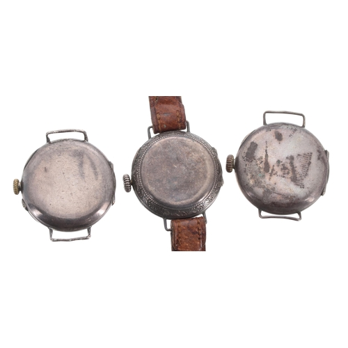 525 - Three silver wire-lug wristwatches (two lacking straps), 28mm, 28mm, 27mm