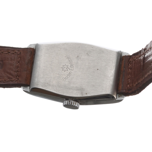 530 - Junghans stainless steel rectangular gentleman'swristwatch, signed silvered dial, brown leather str...