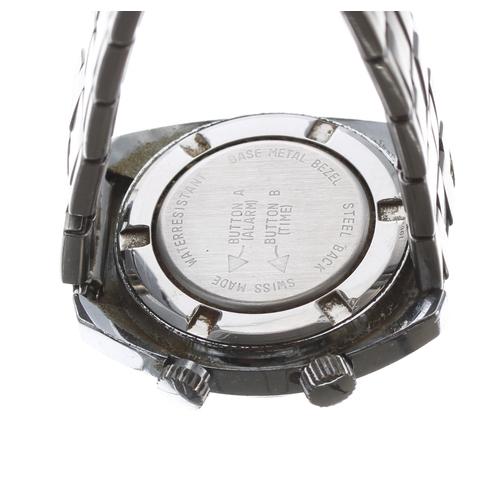 531 - Memostar Alarm stainless steel vintage gentleman'swristwatch, oval blue dial with orange alarm indi...