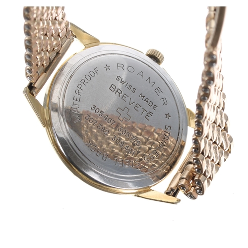 534 - Roamer gold plated gentleman's wristwatch, silvered dial with Arabic numerals, baton markers and sub...