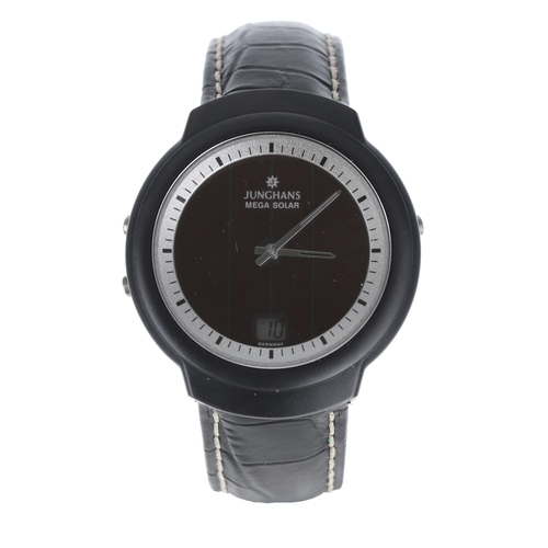 535 - Junghans Mega Solar Funk Ceramic gentleman's wristwatch, ref. 018/1610.00, black leather strap with ...