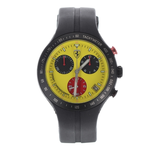 542 - Ferrari Scuderia Chronograph gentleman's wristwatch, yellow dial with rubber band, 42mm-** with box ...
