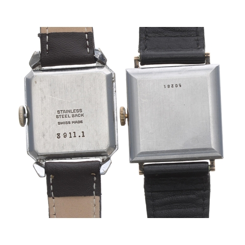 543 - Avia square cased stainless steel gentleman's wristwatch, square silvered dial, 15 jewel, modern bro...