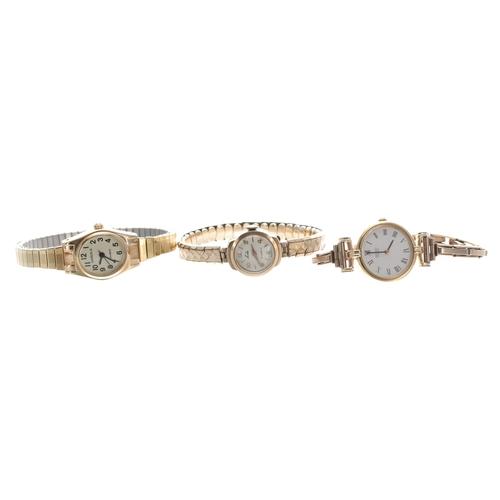 544 - Seiko Quartz gold plated lady's wristwatch with an expanding 9ct bracelet, 17.8gm; Leda 9ct lady's w...