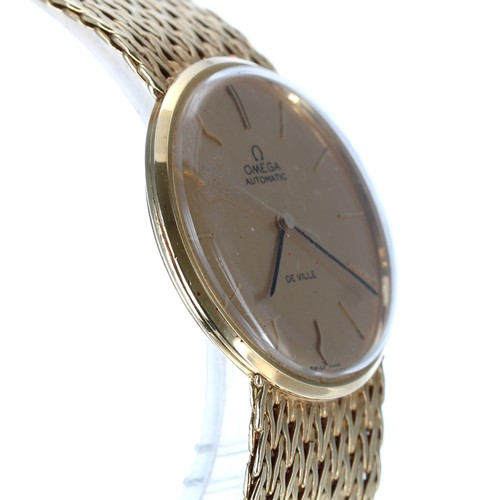 39 - Omega De Ville automatic 18ct gentleman's wristwatch, the gilded dial with baton markers and sweep c...