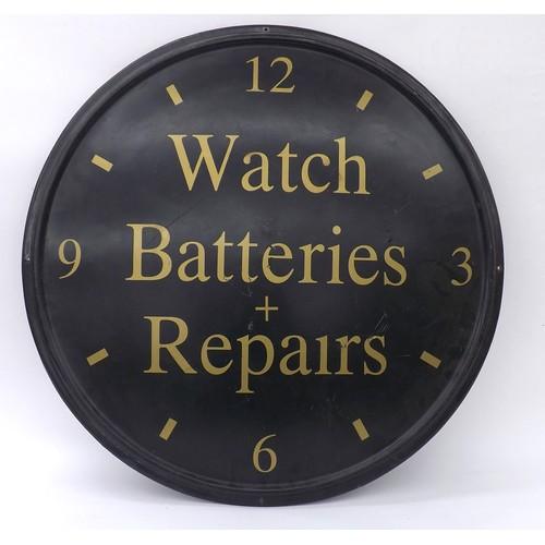 "Fibreglass advertising dial sign inscribed Watch Batteries + Repairs, 28"" diameter"