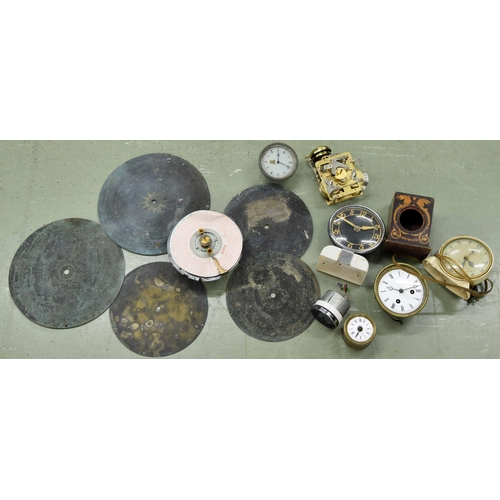 1441 - Six old barometer dials, Japy Freres two train mantel clock movement and several electric and other ...