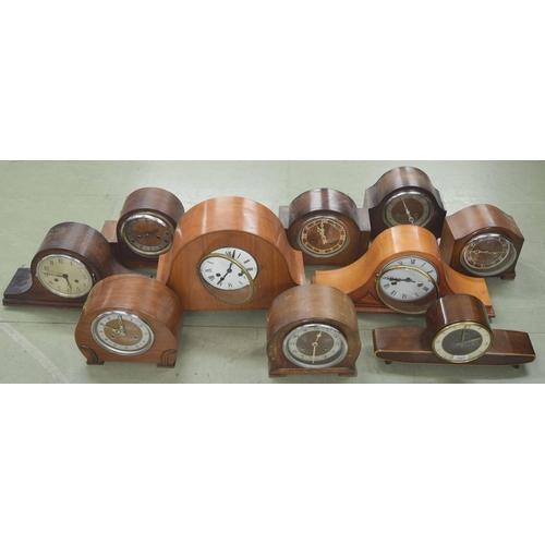 1407 - Ten various two train mantel clocks, tallest 12.5