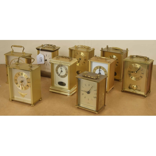 1411 - Nine various contemporary carriage type clocks all within brushed brass cases, tallest 7.25