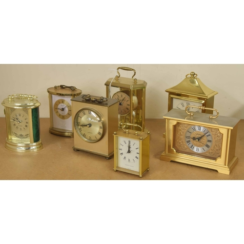 1413 - Seven various contemporary carriage clock type timepieces, tallest 7.5