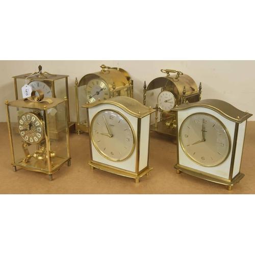 1415 - Six various contemporary brass cased mantel clocks (6)