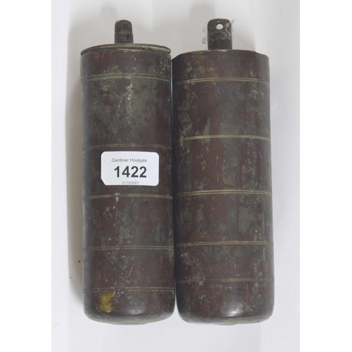 1422 - Pair of good brass cased weights with ring turned decoration(2)...