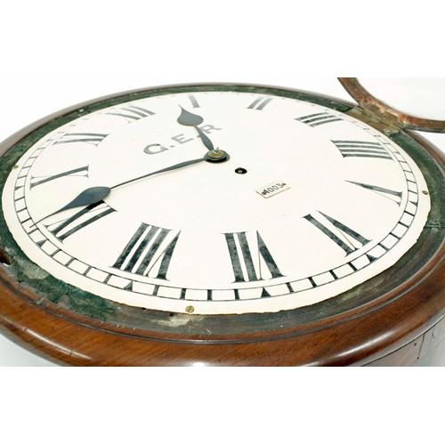 1053 - Rare Great Eastern Railway (L&NER) mahogany single fusee wall dial clock, the 14