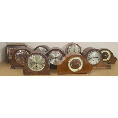 1409 - Nine various three train wooden cased mantel clocks(9)