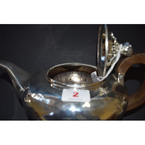 2 - A William IV silver teapot, by Richard Pearce & George Burrows, London 1831, 465g all in....