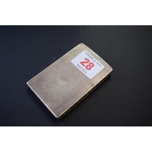 28 - A rectangular engine turned silver compact, by Dyas Beverley Hampton, London 1949, 7.6cm, 64g....