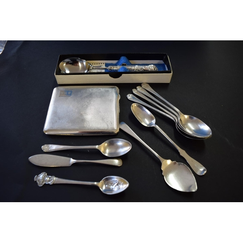 43 - An engine turned silver cigarette case; together with six various silver teaspoons and four other it...