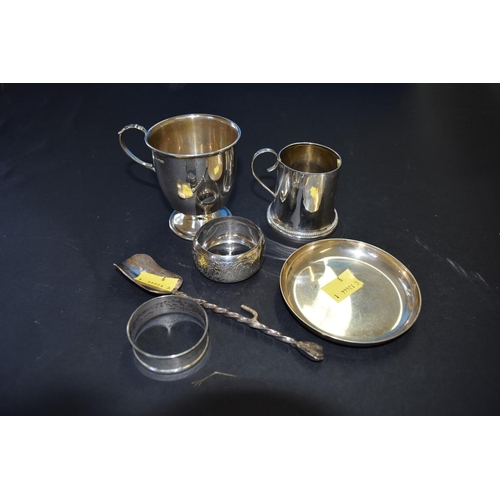 47 - Two silver christening mugs; and four other silver items, 219g....