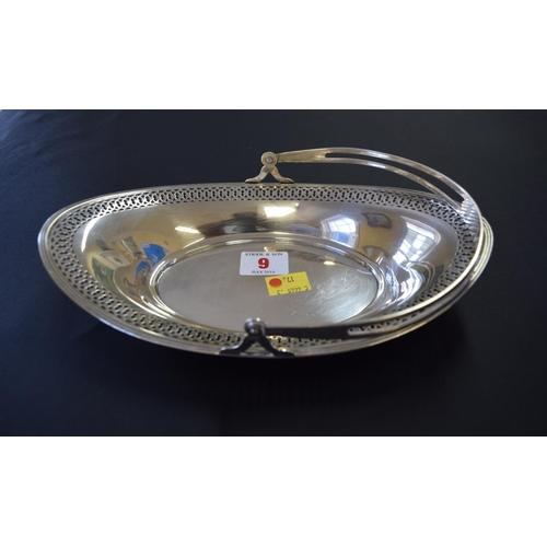 9 - A sterling silver pierced oval swing handle basket, 25cm, 209g....