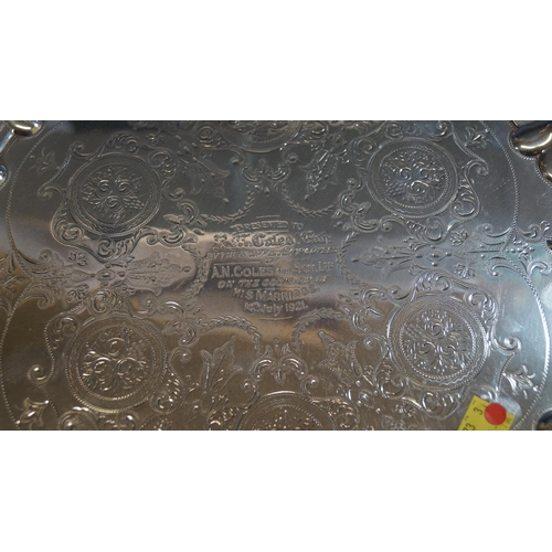 13 - A silver salver, by William Aitken, Birmingham 1903, having piecrust and gadrooned border and chased...