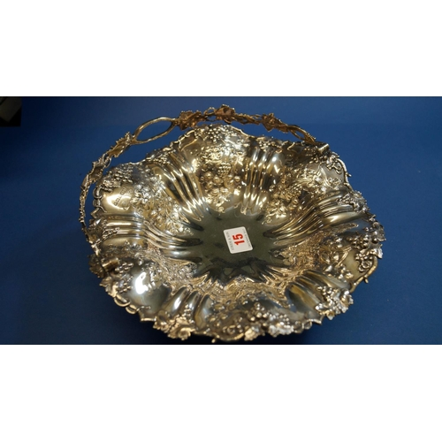 15 - A silver swing handled fruit basket, by Roberts & Belk, Sheffield 1913, having floral and fluted dec...